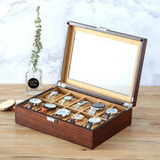 High Class 10 Slots Wood Wooden Transparent Top Watch Box Case Chest With Lock