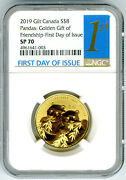 2019 8 Canada Gold Plate Gilt Silver Ngc Sp70 Golden Panda First Day Issue