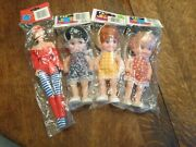 Vintage 4 Gordy Dolls And One Fashion Doll In Package From 80s Unused Old Store