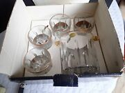 Cellini 6 Pc Cut Crystal Barware Set 24 Kts Gold Hand Decorated In Italy