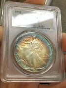 C3881- 1993 American Silver Eagle Pcgs Ms64 Double Sided Rainbow Toning