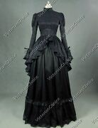 Gothic Victorian Black Dress Mourning Dress Witch Adult Halloween Costume 324