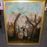 Antique Persian Or Mughal Period Oil Painting With Playful Children 33 1/2 X 26