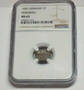 1682 Germany 1p Nurnberg Pfennig Ngc Ms63 Ms 63 Certified Uncirculaded Coin