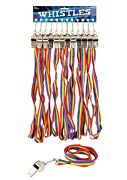 Metal Whistle With Rainbow Cord - Gay Pride Lgbt Festival Rave Carnival Party