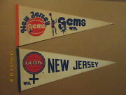 Wbl New Jersey Gems Vintage Defunct Circa 1979-80 Lot Of 2 Different Pennants