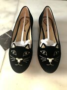 Auth Charlotte Olympia Velvet Kitty Flat In Black Gold Size 36 Retail 495