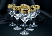 Wine Glass Crystal Glass Set Of 6 Champagne 8oz 250ml Gold Floral Design Gift