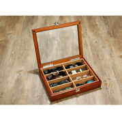 High Class 8 Slots Wood Wooden Storage Case Box For Sunglasses With Lock