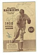 1950 Seattle Rainiers Signed Auto Baseball Scorecard By 7 Los Angeles Angels Pcl
