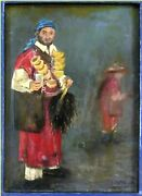 Antique Morocco Art Oil Painting On Wood Man Selling Water In Marrakech City