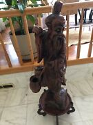 G5750 Chinese Wooden Person Fish Statue Sculpture Ornament Figurines