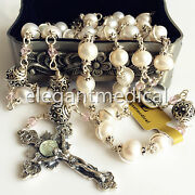 Bali Sterling Silver Bead +aaa White Pearl Catholic Rosary Necklace Cross Box
