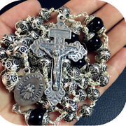 New Rare 9mm Bali Sterling Silver Beads Mens Rosary Cross Gift Necklace Box