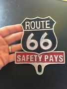 Route 66 Auto Safety Club Solid Metal License Plate Topper Patina Man Cave Rte