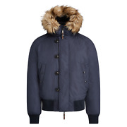 Purple Label Rlx Mens Navy Quilted Faux Fur Hooded Puffer Jacket