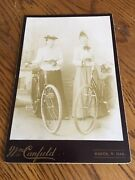 Antique Cabinet Card Photo 1880andrsquos Women With Bicycles Oakes North Dakota Nice