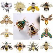 Vintage Cute Insect Bee Crystal Brooch Pin Costume Badge Women Men Jewellery Hot