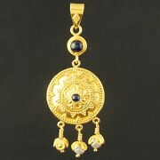 Etruscan Solid 22k Gold Filigree Freshwater Pearl And Sapphire Cabochon Dangle Pe