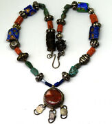 Antique Venetian, Natural Coral, Turquoise, Brass, Lapis And .900 Silver Necklace