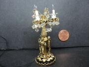 Dollhouse Lamp-brass- Crystals W/ Statues