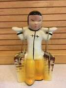 Vintage Glazed Painted Ceramic 6 Asian Girl Carrying Water Baskets Figurine