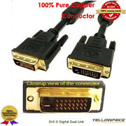 Premium Dvi-cable Acitve 24awg Shielded For Video Projector Dfp Lcd Dvd Ps4 Lot
