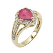 Round Real Ruby Diamonds 14k Solid Yellow Gold Ring Sz 6.75 Christmas Day Deals