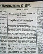 Frank James Jesse Gang Outlaw And Boonville Mo Missouri Connection 1884 Newspaper