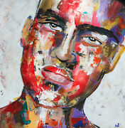 Figurative Art Original Abstract Painting Wall Design Painted Face 24 X 24