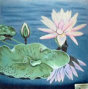 Mzc Oriental Lily Pads And Flowers Hp Hand Painted Needlepoint Canvas