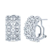 1.02ct 14k White Gold Natural Round Cut Diamond Cuff Huggie Omega Lace Earrings