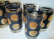Vtg Libbey Gold Coin Black Glasses Lot 8 Tall Tumbler Drinking Glass Mid Century