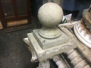 """Large Wooden C1900 Fence Post Top Finial Cannon Ball Style 11"""" H X 6"""" Diameter"""