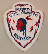 Vintage Iroquois League Champions Volleyball Patch Native American Brave Unused