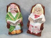 Vintage Lefton Old Woman And Old Man Rocking Chairs Retirement Fund Piggy Banks