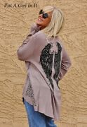 Vocal Womens Plus Size Pearl Crystal Taupe Angel Wings Tunic Top Shirt 1x 2x 3x