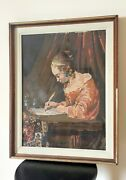 Antique Needlepoint Cross Stitch Gerard Borch France Work Finished Wooden Frame