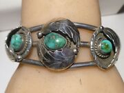Unsigned Cuff Bracelet Shadow Box Turquoise Sterling Silver Navajo Vintage
