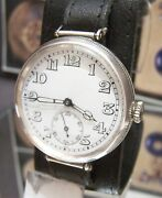 Antique Vintage 1918 Longines Ww1 Military Solid Silver Trench Watch Serviced