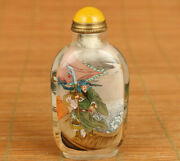 Natural Crystal Hand Inside Painting Guan Gong Statue Snuff Bottle
