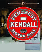 19 X 19 Kendall Penzbest Vintage Gas Vinyl Decal Lubester Oil Pump Can Lubster
