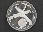 1970s Mariner Iv Silver Art Medal Franklin Mint America In Space D8701
