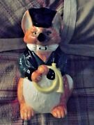 Fitz And Floyd Foxhunt Fox Holding Horn Hunting Hat Green Jacket 9.5 Tall 1986
