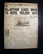 Philippines Campaign Japanese Invasion And Douglas Macarthur 1941 Wwii Newspaper