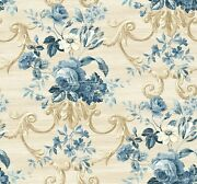 Blue And Beige Traditional Floral Scroll Wallpaper Bolt - 27 X 324 Roll