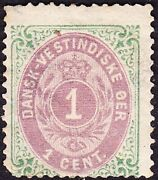 Danish West Indies - 1874 - 1 Cent Green And Rose Lilac Numeral Of Value 5a Mint