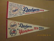 Mlb Los Angeles Dodgers Vintage 1978 Nl Champs And 1978 World Series Logo Pennants