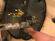 Archery Research Compound Bow With 5 Pin Peep Release Quiver Case And Target