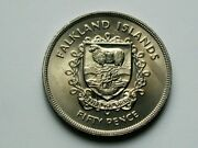 Falkland Islands British 1952-1977 50 Pence Crown Coin With Coat Of Arms Sheep